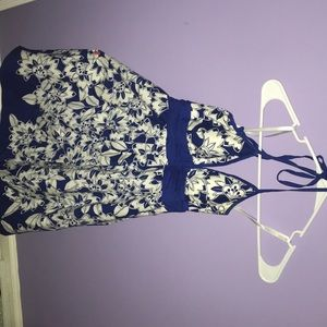 Blue and white flower summer dress